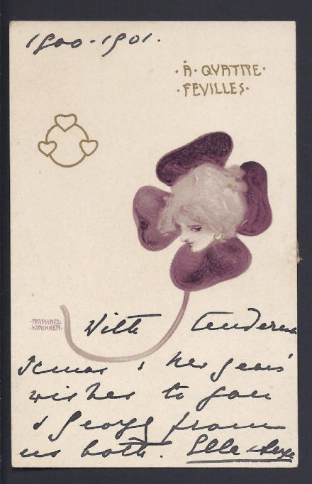 Grand Duchess Elisabeth Romanov of Russia Signed Art Nouveau Christmas Card to Queen Mary 1901